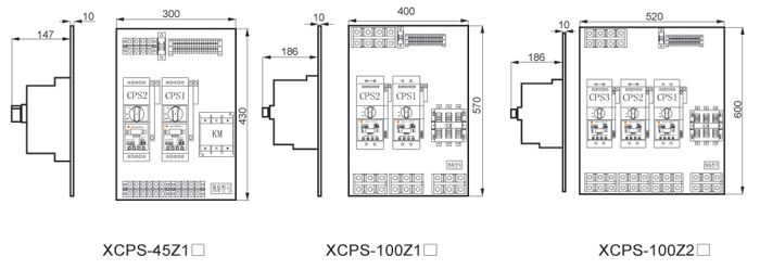 同xcps-j型星三角减压启动控制器  4,控制电路图 外形及安装尺寸